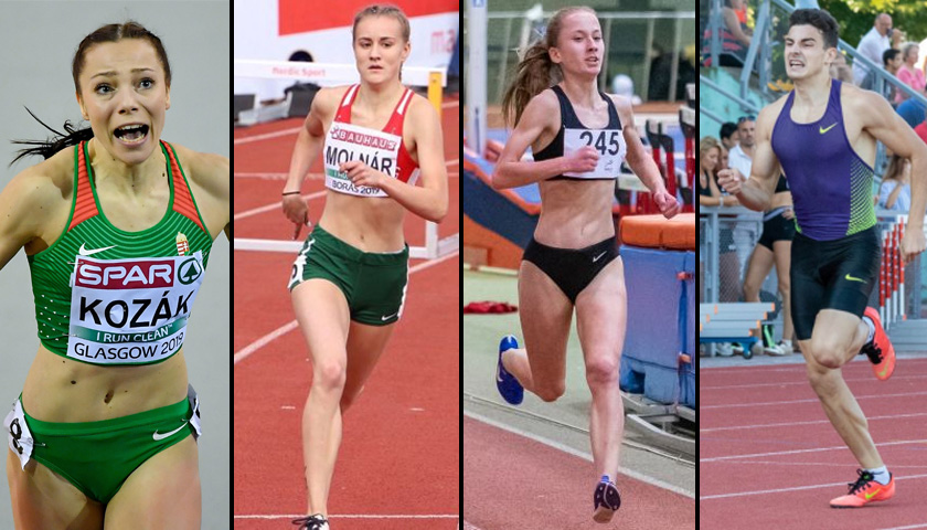 2020 magyar atlétái: Kozák Luca, Molnár Janka, Varga Gréta, Nadj Levente